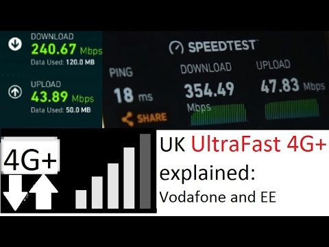 UltraFast 300mbps+ 4G+ in the UK:  Vodafone vs EE 3CA LTE-A Cat 9.