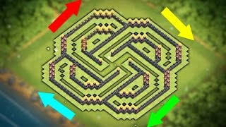 "New ""UNBEATABLE"" Town hall 9 Base Layout (CoC Th9) Best Trophy Pushing Base 2017 