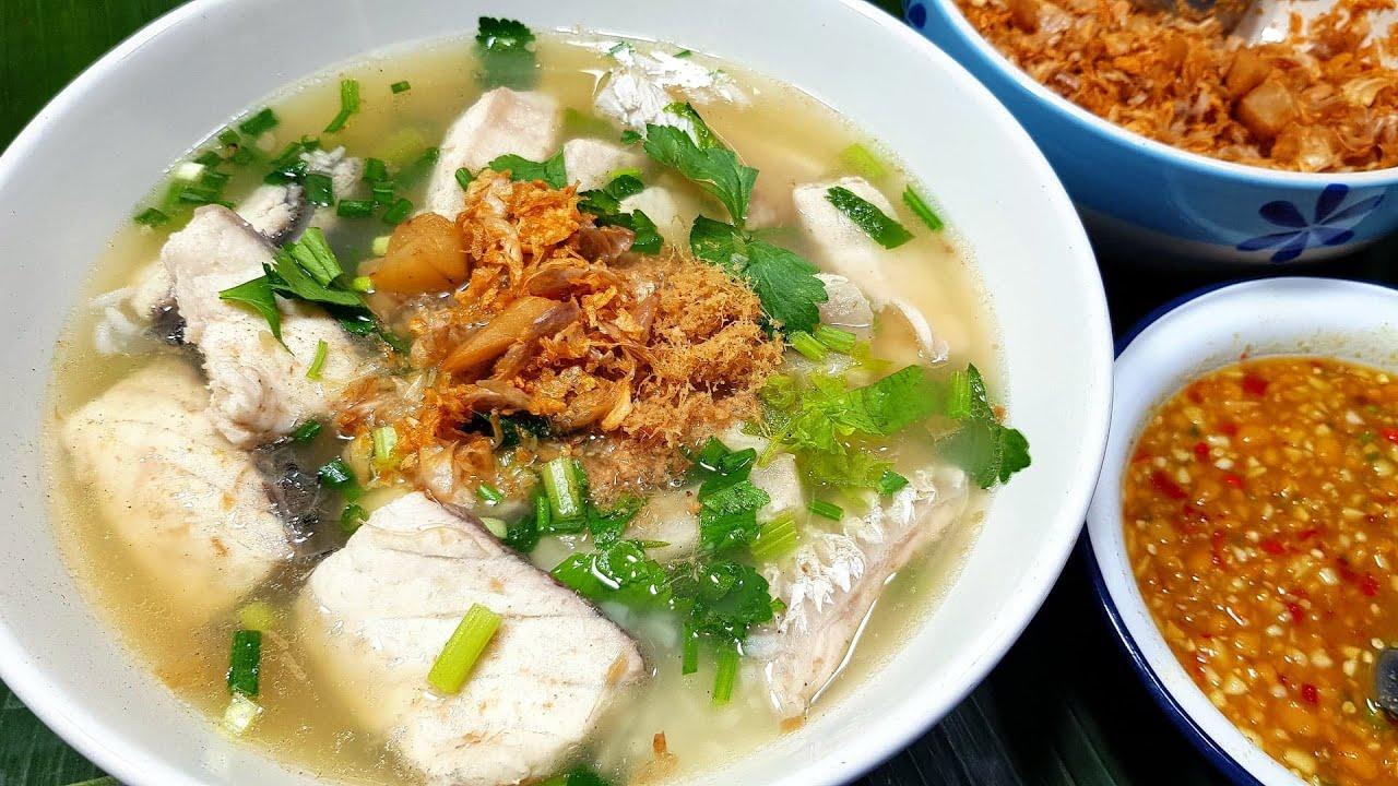 912 ข้าวต้มปลากะพง สูตรต้มน้ำซุปปลา น้ำจิ้มเต้าเจี้ยว Porridge with fish