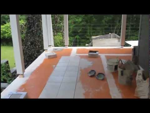 How to install tile  on screened in two season room deck.