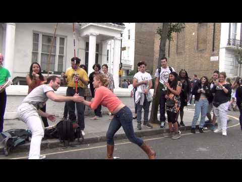 Capoeira, kind of dance, fight on Notthing Hill Carnival London 2014