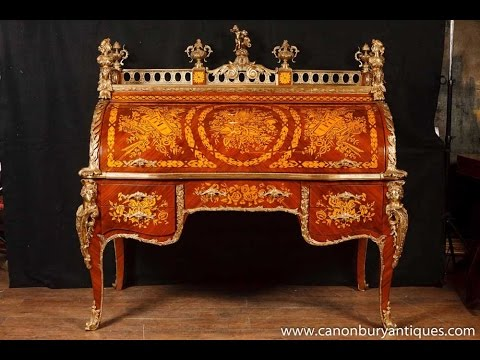 French louis xv bureau du roi roll top desk youtube