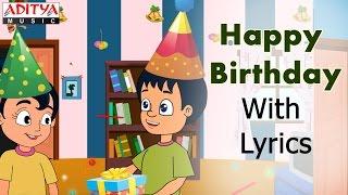 Happy Birthday with Lyrics    Popular English Nursery Rhymes for Kids