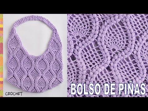 Bolso redondo de piñas y trenzas puff tejido a crochet - Tejiendo Perú