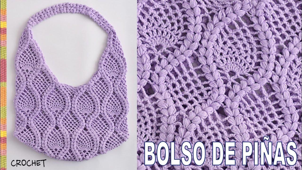 Bolso redondo de piñas y trenzas puff tejido a crochet - Tejiendo ...