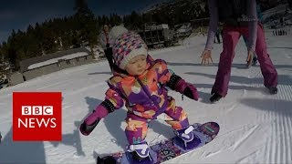 The one-year-old who snowboards in US - BBC News