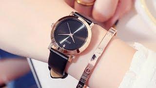 Đồng hồ nữ đẹp - Đồng hồ Guou dây da chính hãng Nu074
