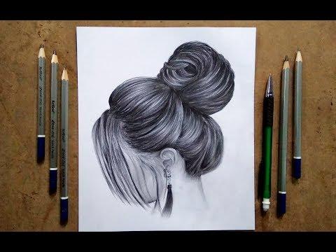 A Girl hair design drawing || tricks Pencil sketch