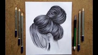 hair sketch pencil drawing