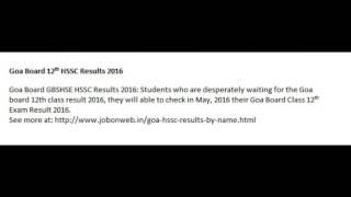 Goa Board SSC Results 2016   GSEB HSSC Result 2016 Date