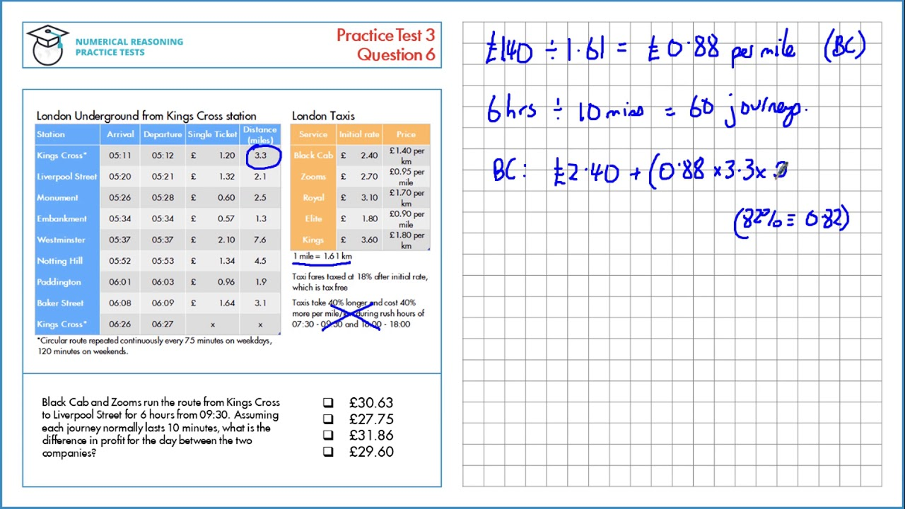 Worked Solutions - Test 3 | Numeracy Reasoning Tutor