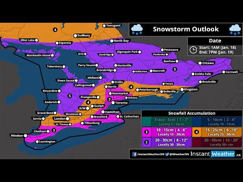 VIDEO UPDATE: Snowstorm Today Across Southern Ontario With 15-30cm+ Possible