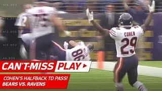 Tarik Cohen's Crazy Halfback Pass TD to Zach Miller!   🚨 Trick Play Alert 🚨   NFL Wk 6 Highlights