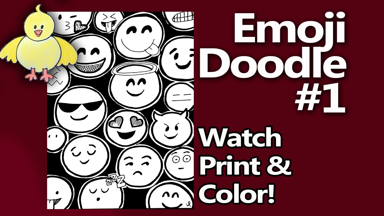doodle coloring page emojis speed doodle with printable