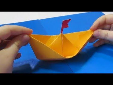 Оригами Кораблик (Лодочка) Поделки для мальчиков.Сделать Подарок папе,деду на 1 мая - 9 мая,пасху МК