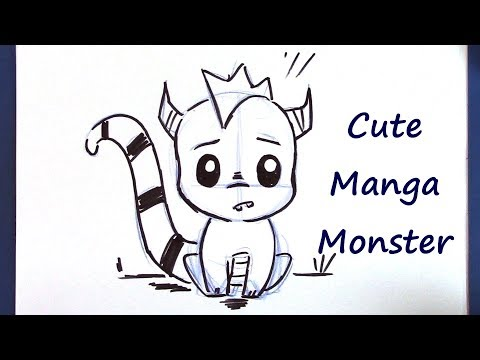 How to Draw a Manga Monster - Super Cute and Easy