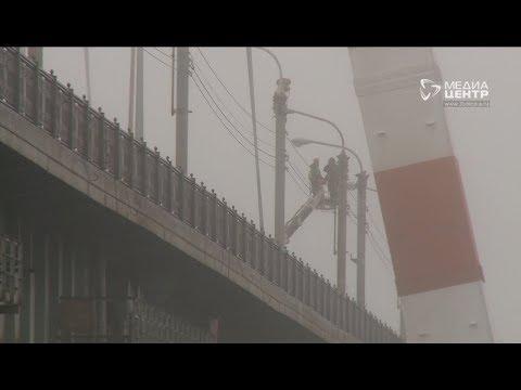 Покраска пилонов наОктябрьском мосту вЧереповце завершена