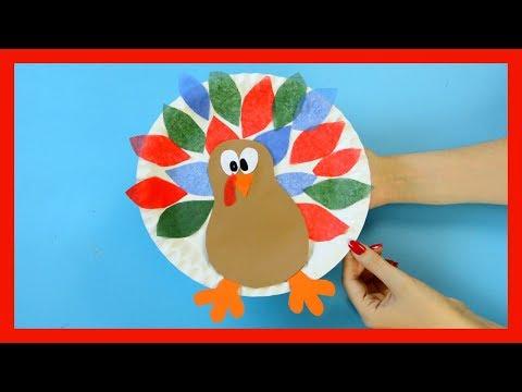 Paper Plate Turkey Craft Using Tissue Paper