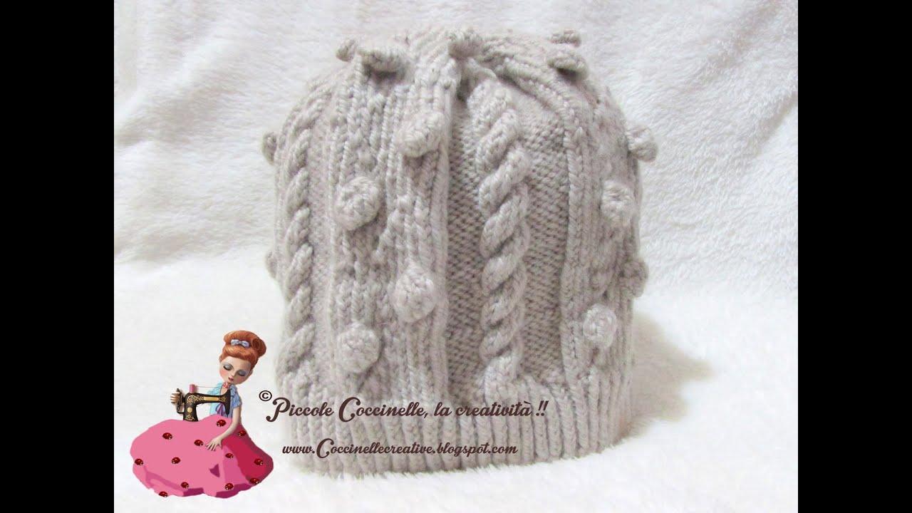 Cappello in lana realizzato a maglia con tutorial nel post. - YouTube 8e70fbbb0ab6