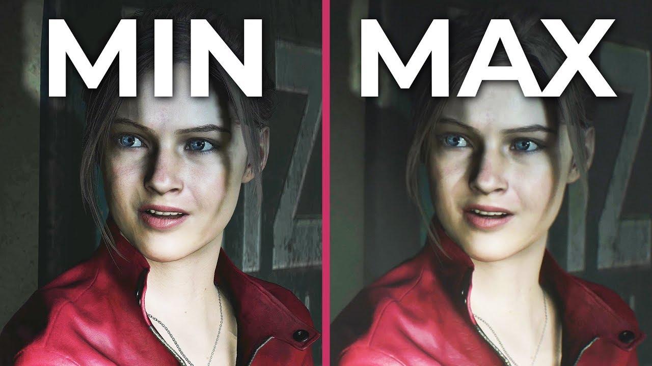 Resident Evil 2 Remake – PC 4K Min vs  Max Graphics Comparison Frame Rate  Test 1080p