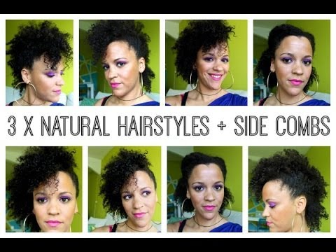 3 X Natural Hairstyles Using Side Combs Hair Type 4 A Youtube
