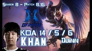 KZ Khan QUINN vs URGOT Top - Patch 8.16 KR Ranked