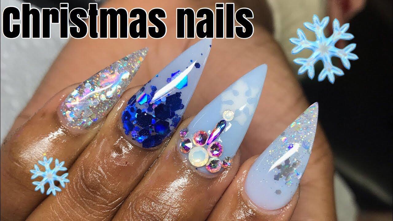Christmas Stiletto Nails.Christmas Stiletto Nails Acrylic Nail Tutorial