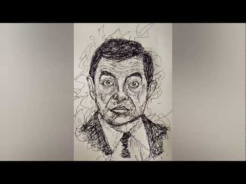 MR.Bean scrubble art   mr.bean painting tutorial.easy tips   step by step process of mr.bean drawing thumbnail