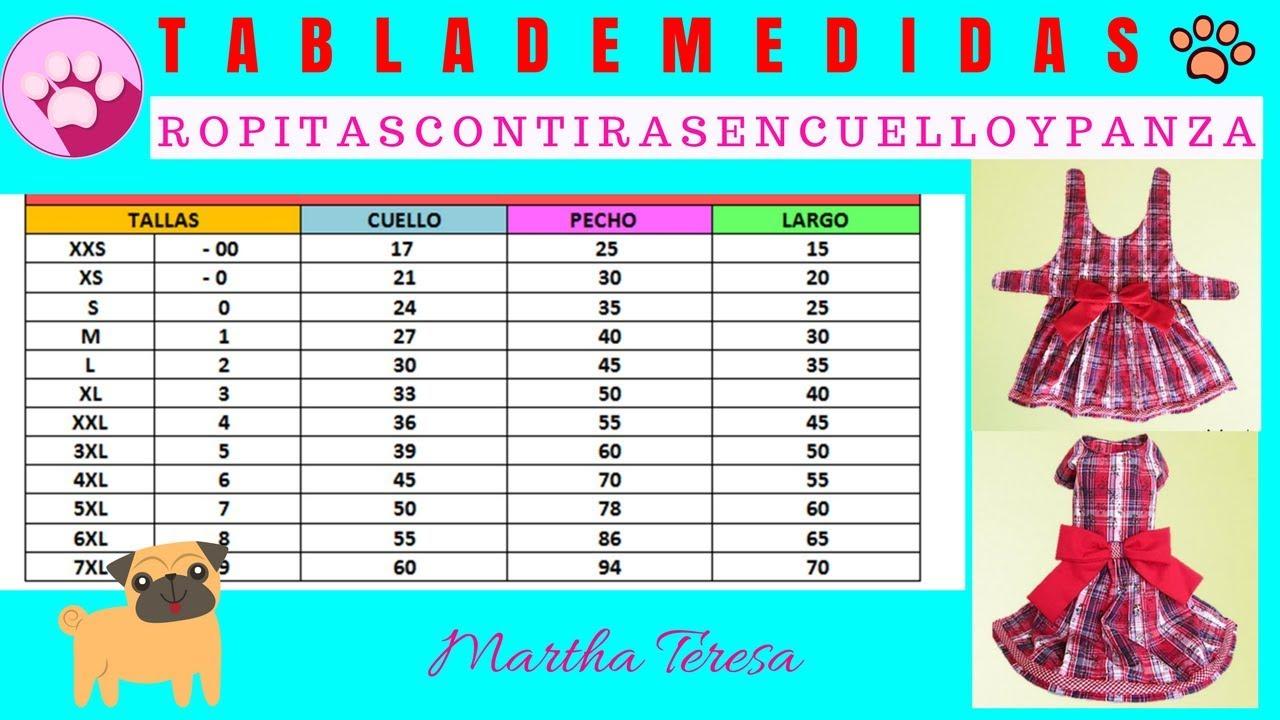 TABLA DE MEDIDAS 2-Ropitas de Mascotas con Tiras en Cuello y Panza ...