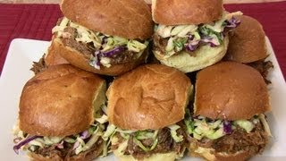 Super Bowl Recipe: Bbq Pulled Pork Sliders W/ Creamy Cole Slaw |cooking With Carolyn|