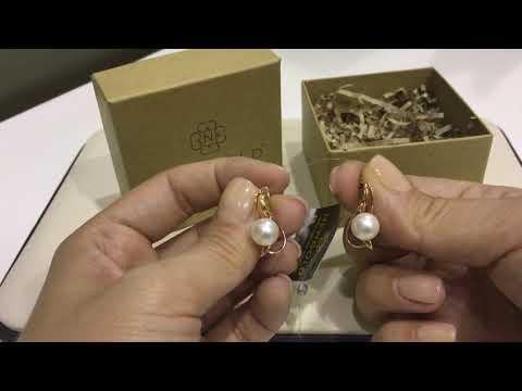 Серьги 093894 из красного золота 585 пробы с жемчугом