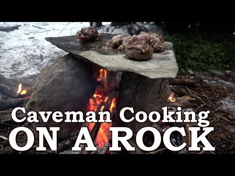 PRIMITIVE TECHNOLOGY | ROCK OVEN like CAVEMAN | Eating CAUL FAT, HEART, KIDNEY, TONGUE & MEAT