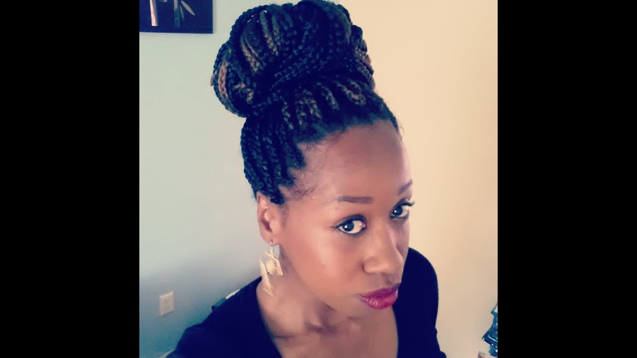 how to high bun on box braids w o bobby pins   youtube