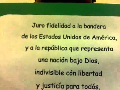 graphic relating to Pledge of Allegiance in Spanish Printable called The Pledge inside Spanish