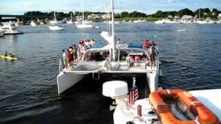 Un-docking 9th Wave Sailing Catamaran