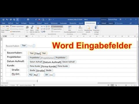 Word Eingabefelder einfügen. Textfelder Dokumenteigenschaften Entwurfsmodus