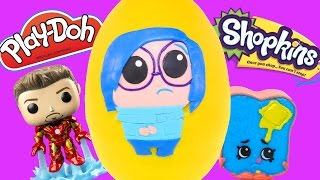 Color Changed Inside Out Sadness - HUGE Surprise Egg Play Doh with Shopkins Marvel Superhero