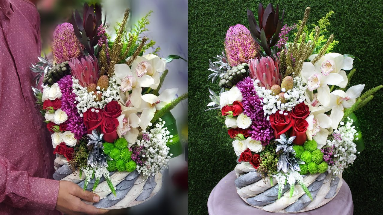 Flowers Arrangement With Vase How To Make A Bouquet With Wood Box Wood Box Flower Arrangement Youtube