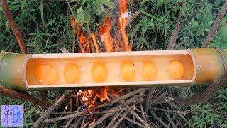Trứng Nướng Gà Rừng Nướng Ống Tre .Sinh Tồn Trong Rừng .Primitive Survival.Eggs Baked In Bamboo