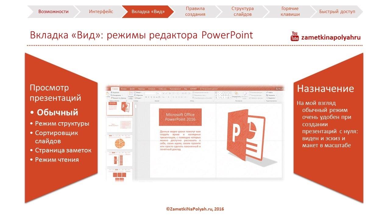 """Вкладка """"Вид"""" и ее назначение в PowerPoint 2016. Режимы редактирования PowerPoint."""