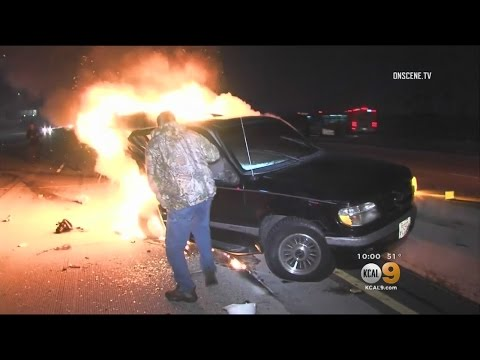 Caught On Tape: Photojournalist Becomes A Hero When He Pulls Man From Burning Car