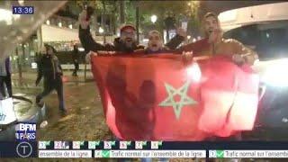 Scènes de liesse et heurts avec la police sur les Champs-Elysées après la qualification du Maroc