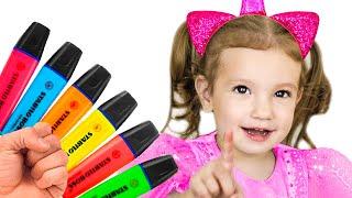 Тима и Еся играют с волшебными маркерами - Детская песня про цвета