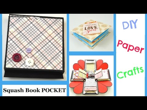 DIY Paper Crafts  - Squash book Pocket for Exploding Box - Step by step tutorial