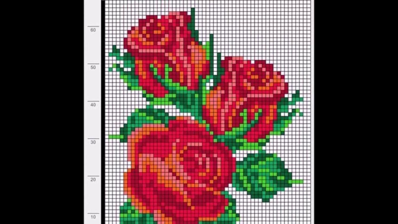 Ponto Cruz Flores Para Naperons Toalhas De Mãos Etc Youtube