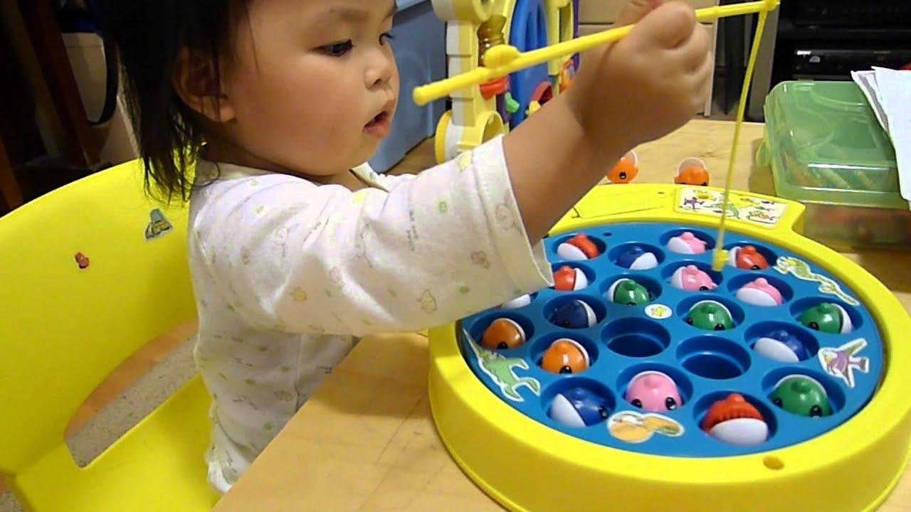 Baby plays fishing game youtube for Toddler fishing game free