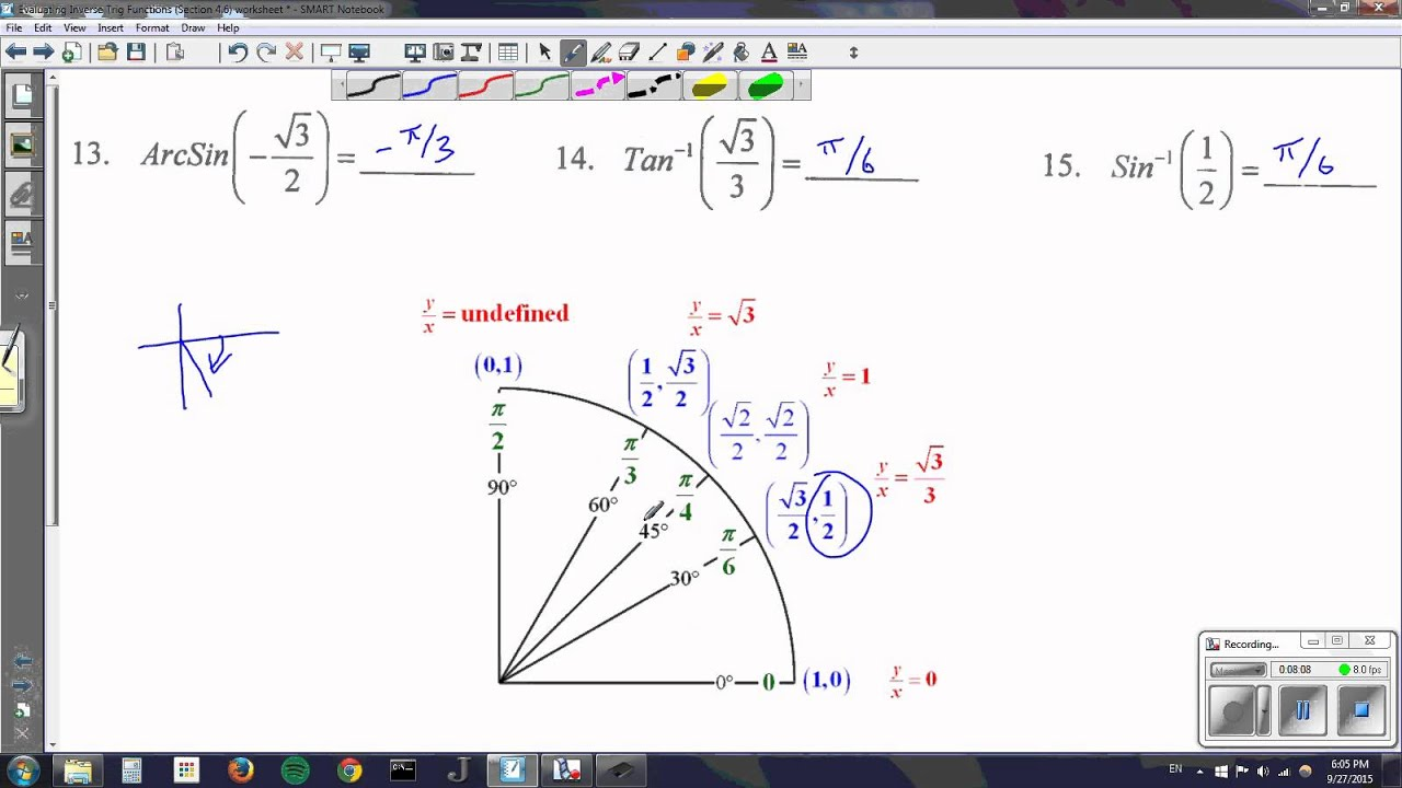 Worksheets Inverse Trig Functions Worksheet Cheatslist
