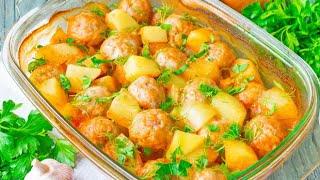 Тефтели в духовке с подливкой и картошкой ❤ (ЛУЧШИЙ РЕЦЕПТ!)⭐Очень Вкусные, Нежные и Сочные!