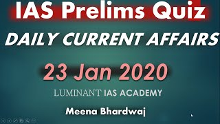UPSC IAS  Daily current affairs quiz 23 Jan 2020
