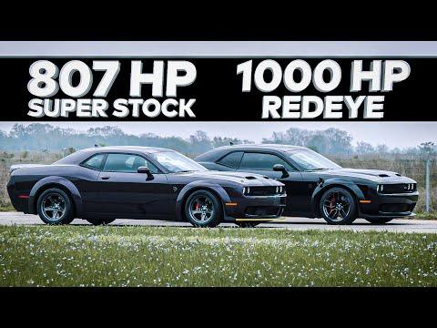 1000 HP HELLCAT REDEYE vs 2021 HELLCAT SUPER STOCK // Street Race Comparison!